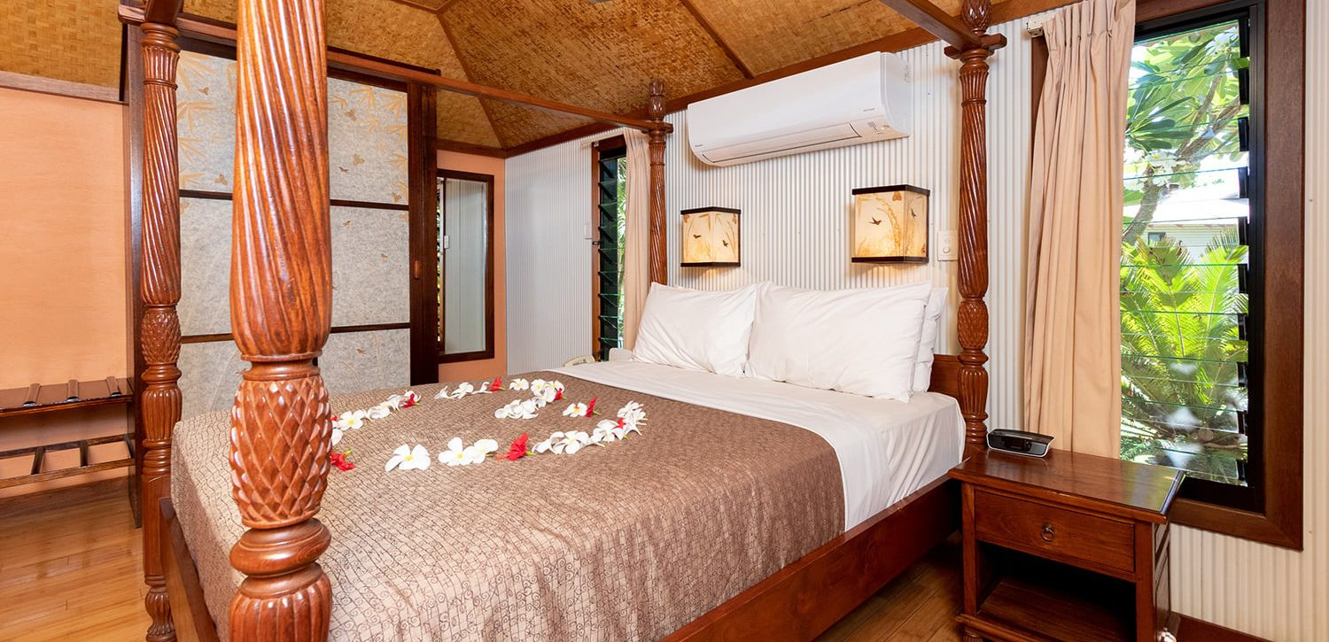 broome-accommodation-deluxe-studio-villa-canopy-bed | Bali Hai Resort and Spa
