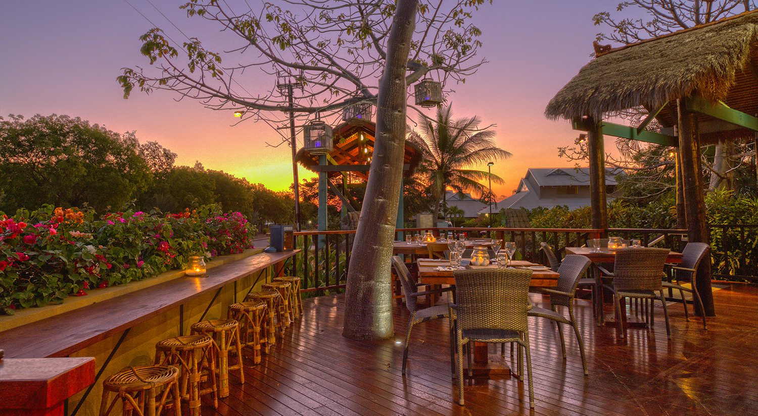 broome-accommodation-resort-cafe-outdoor-seating-dusk | Bali Hai Resort and Spa